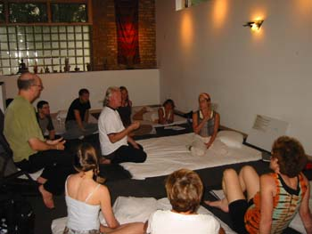 Dr. J teaching Thai Yoga Massage at Chicago at Chuck Duffs school